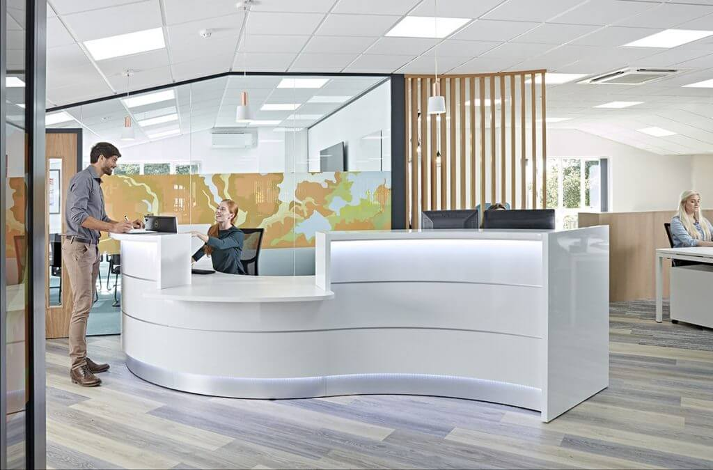 Contemporary office reception area