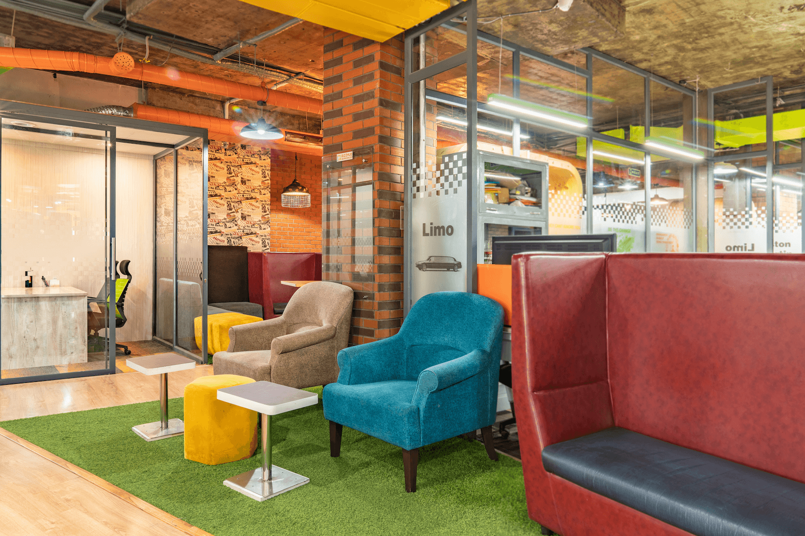 Colourful dog friendly office design